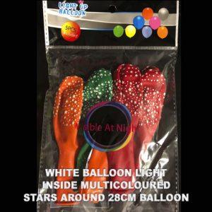 White balloon light inside multicoloured stars around balloon packet