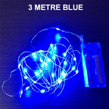 BLUE 3 METRE COPPER WIRE LIGHTS