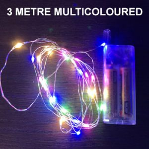 MULTICOLOURED 3 METRE COPPER WIRE LIGHTS
