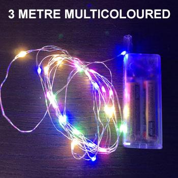 MULTICOLOURED 3 METRE COPPER WIRE LIGHTS