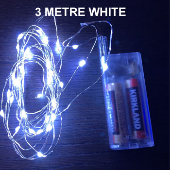 WHITE 3 METRE COPPER WIRE LIGHTS