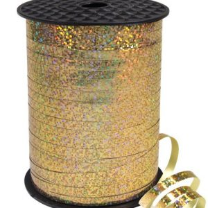 gold holographic curling ribbon